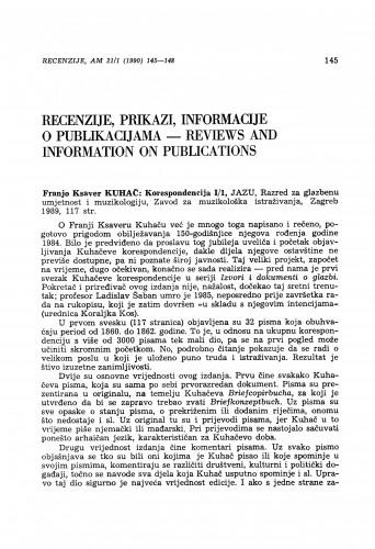 Franjo Ksaver Kuhač: Korespondencija I/1, Zagreb 1989