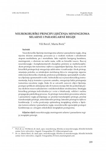 Neurokirurški principi liječenja meningeoma selarne i paraselarne regije