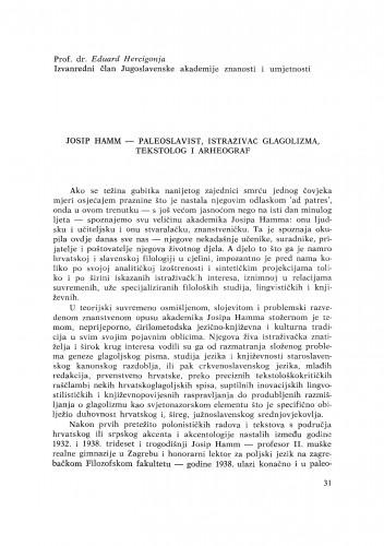 Josip Hamm - paleoslavist, istraživač glagolizma, tekstolog i arheograf