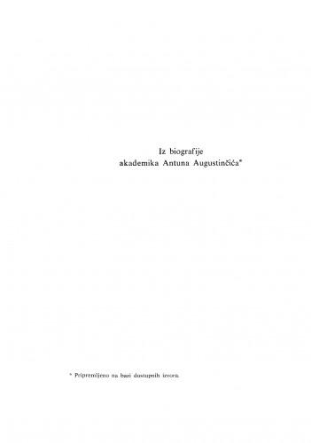 Iz biografije akademika Antuna Augustinčića