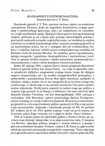 Avangardist s patinom pasatizma : sonetna parcela J. V. Foixa