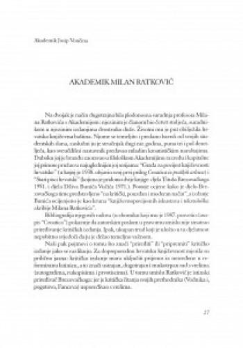 Akademik Milan Ratković.