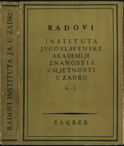 Sv. 4-5 (1958-1959) : Radovi Instituta Jugoslavenske akademije znanosti i umjetnosti u Zadru