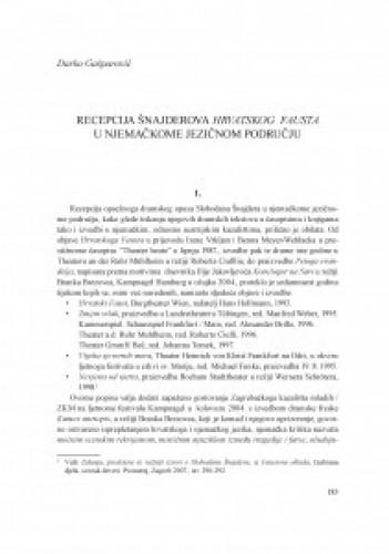 Recepcija Šnajderova Hrvatskog Fausta u njemačkome jezičnom području