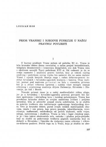 Prior vranski i njegove funkcije u našoj pravnoj povijesti