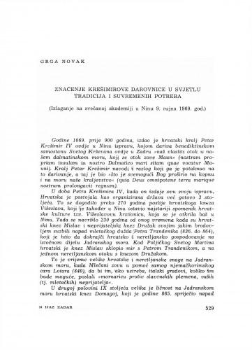 Značenje Krešimorve darovnice u svjetlu tradicija i suvremenih potreba : (izlaganje na svečanoj akadmeiji u Ninu 9. rujna 1969. g.)