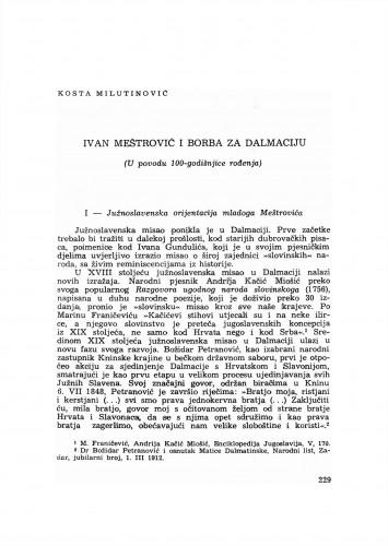 Ivan Meštrović i borba za Dalmaciju : (u povodu 100-godišnjice rođenja)
