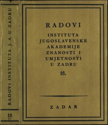 Sv. 18(1971) : Radovi Instituta Jugoslavenske akademije znanosti i umjetnosti u Zadru