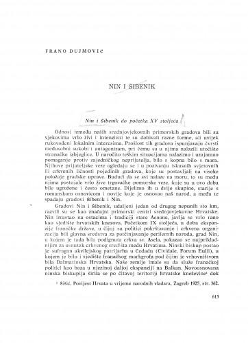 Nin i Šibenik do početka XV stoljeća