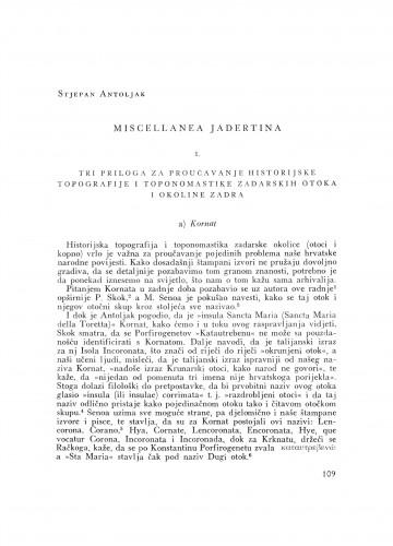 Miscellanea Jadetina : tri priloga za proučavanje historijske topografije i toponomastike zadarskih otoka i okoline Zadra