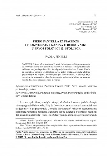 Piero Pantella iz Piacenze i proizvodnja tkanina u Dubrovniku u prvoj polovici 15. stoljeća
