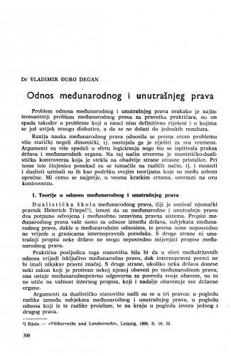 Odnos međunarodnog i unutrašnjeg prava / Vladimir Đuro Degan