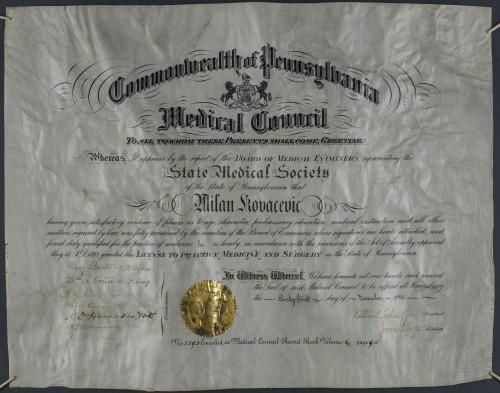 Licenca Milanu Kovačeviću za vršenje liječničke i kirurške prakse u državi Pennsylvaniji