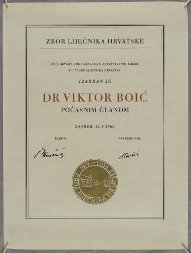 Povelja počasnog člana Zbora liječnika Hrvatske dr. Viktora Boića