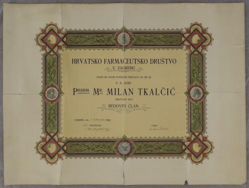 Povelja člana Hrvatskog farmaceutskog društva Milana Tkalčića