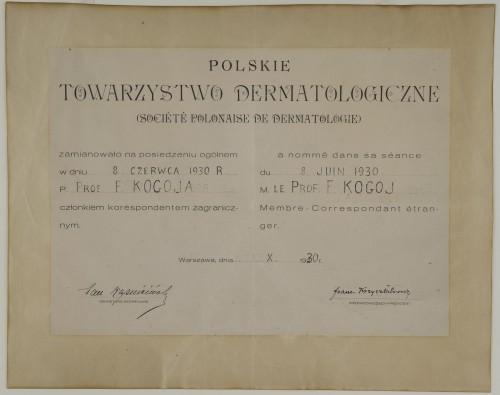 Povelja dopisnog člana poljskog dermatološkog društva dodijeljena Franji Kogoju