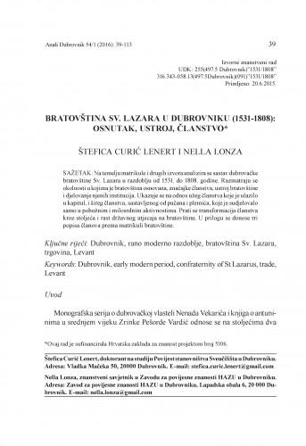 Bratovština Sv. Lazara u Dubrovniku (1531-1808) : osnutak, ustroj, članstvo / Štefica Curić Lenert, Nella Lonza