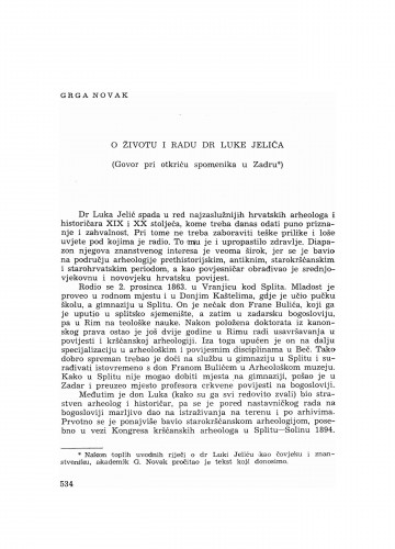 O životu i radu dr. Luke Jelića : (govor pri otkriću spomenika u Zadru)