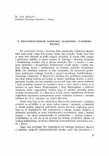 O pravnopovijesnim radovima akademika V. Bayera