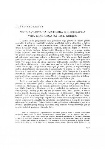 Neobjavljena dalmatinska bibliografija Vida Morpurga za 1861. godinu