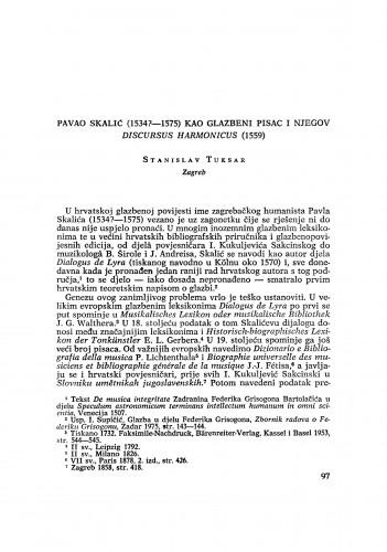 Pavao Skalić (1534?-1575) kao glazbeni pisac i njegov