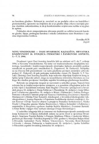 Dani hvarskog kazališta. Hrvatska književnost 18. stoljeća (tematski i žanrovski aspekti), Novi Vinodolski, 5.-7. 5. 1994.