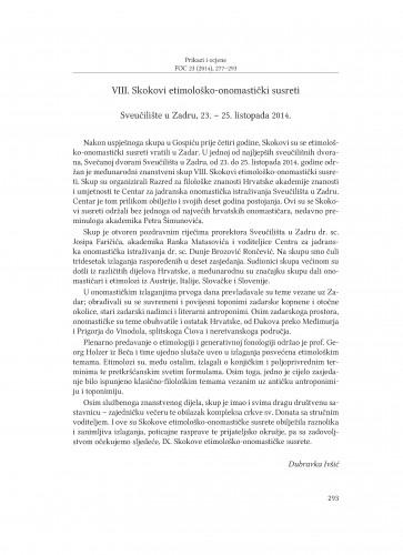 VIII. Skokovi etimološko-onomastički susreti : Sveučilište u Zadru, 23.-25. listopada 2014. : [prikaz]