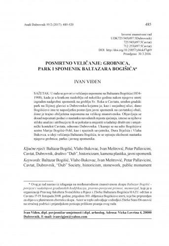 Posmrtno veličanje: grobnica, park i spomenik Baltazara Bogišića / Ivan Viđen
