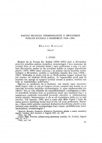 Razvoj muzičke terminologije u Hrvatskoj poslije Kuhača, u razdoblju 1918-1941.