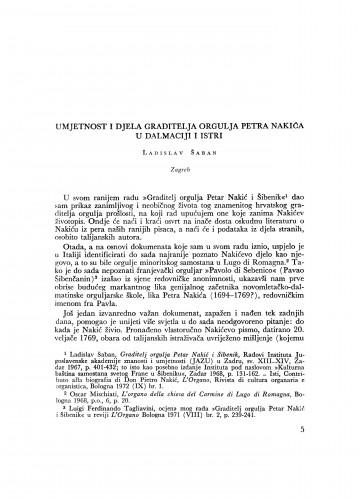 Umjetnost i djela graditelja orgulja Petra Nakića u Dalmaciji i Istri