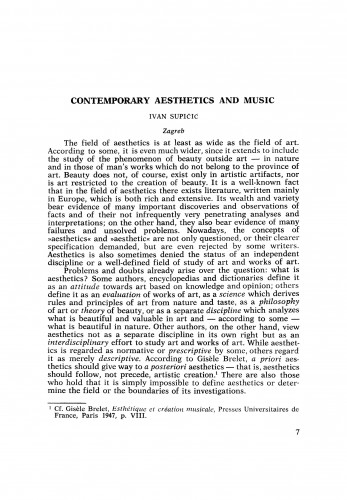 The Contemporary Aesthetics and Music