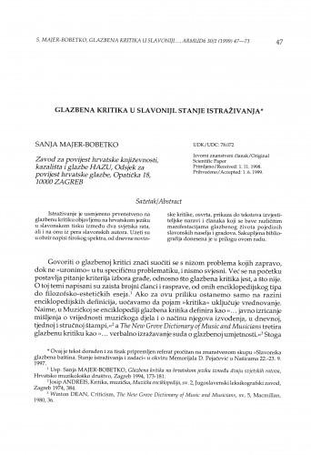 Glazbena kritika u Slavoniji : stanje istraživanja