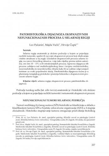 Patohistološka dijagnoza ekspanzivnih nefunkcionalnih procesa u selarnoj regiji