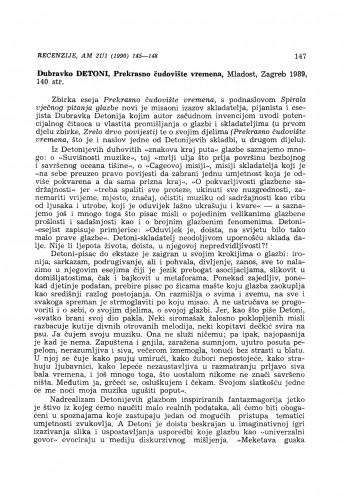 Dubravko Detoni: Prekrasno čudovište vremena, Zagreb 1989