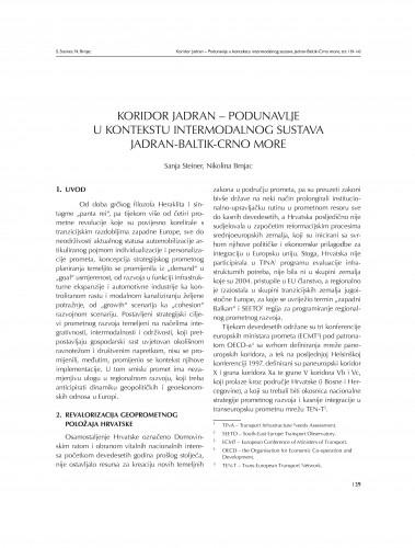 Koridor Jadran - Podunavlje u kontekstu intermodalnog sustava Jadran - Baltik - Crno more