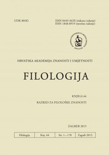 Knj. 64(2015) : Filologija : časopis Razreda za filološke znanosti Hrvatske akademije znanosti i umjetnosti