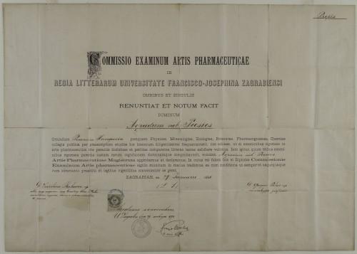 Diploma magistra farmacije Arpada Pečića
