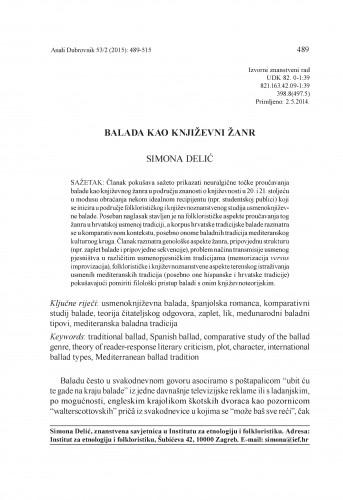 Balada kao književni žanr / Simona Delić