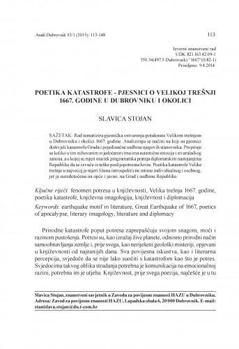 Poetika katastrofe - pjesnici o Velikoj trešnji 1667. godine u Dubrovniku i okolici / Slavica Stojan