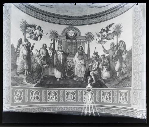 Seitz, Alexander Maximilian  : Katedrala sv. Petra (Đakovo) : Prijestolje svetog Petra, »Vojujuća crkva Isukrstova«, freska u glavnoj apsidi [C. Angerer & Göschl  ]