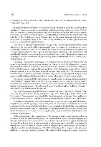 Le commissioni ducali ai rettori d'Istria e Dalmazia (1289-1361), ed. Alessandra Rizzi. Roma: Viella, 2015 : [prikaz]