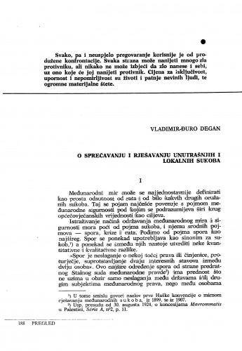 O sprečavanju i rješavanju unutrašnjih i lokalnih sukoba : Vladimir Đuro Degan - zbirka knjiga i članaka