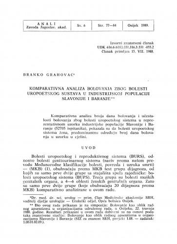 Komparativna analiza bolovanja zbog bolesti uropoetskog sustava u industrijskoj populaciji Slavonije i Baranje
