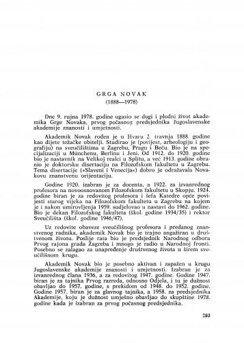 Grga Novak : (1888-1978) : [nekrolog]