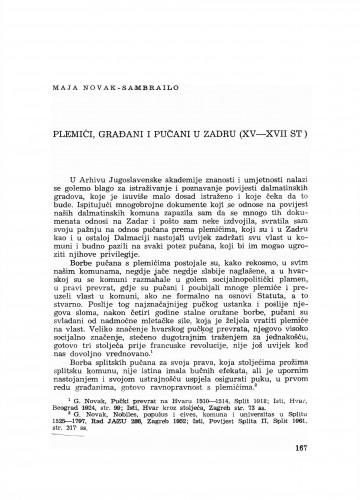 Plemići, građani i pučani u Zadru : (XV-XVII st.)