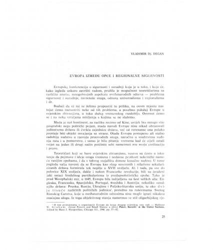 Evropa između opće i regionalne sigurnosti : Vladimir Đuro Degan - zbirka knjiga i članaka