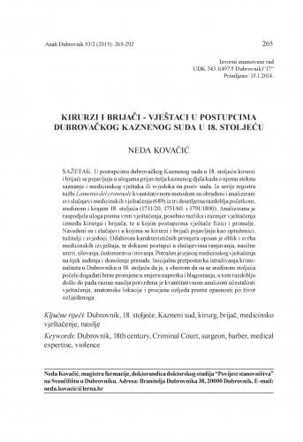 Kirurzi i brijači - vještaci u postupcima dubrovačkog Kaznenog suda u 18. stoljeću / Neda Kovačić