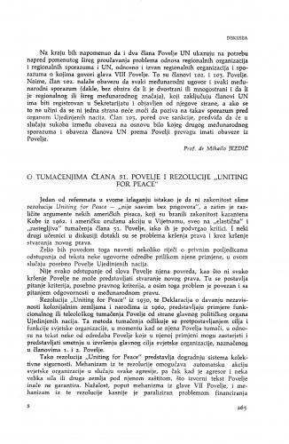 O tumačenju člana 51. Povelje i rezolucije ''Uniting for Peace'' : [diskusija] : Vladimir Đuro Degan - zbirka knjiga i članaka