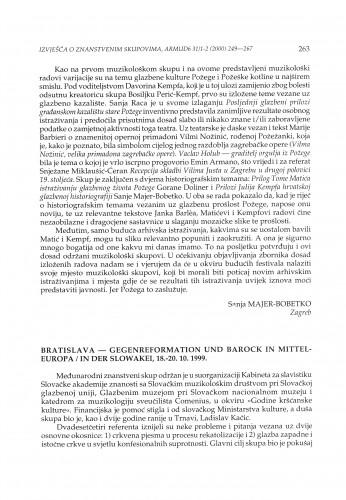 Gegenreformation und Barock in Mitteleuropa / in der Slowakei, Bratislava (Slovakia), 18.-20.10.1999.
