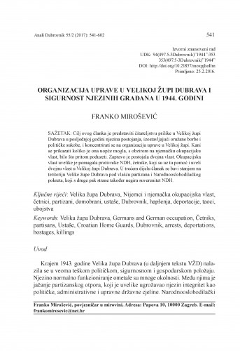 Organizacija uprave u Velikoj župi Dubrava i sigurnost njezinih građana u 1944. godini / Franko Mirošević